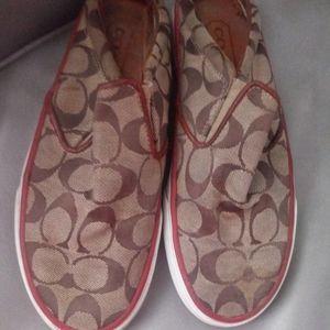 Coach flat canvas shoes.